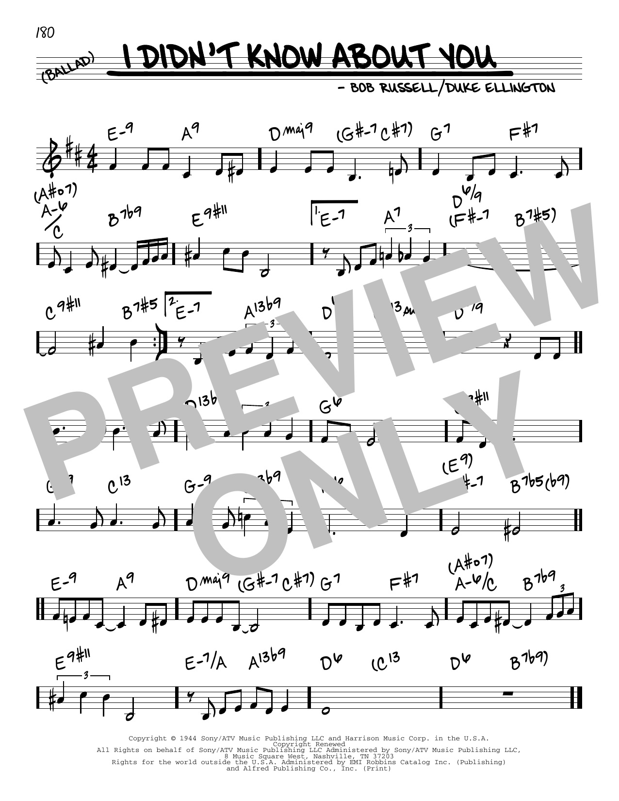 Duke Ellington I Didn't Know About You sheet music preview music notes and score for Guitar Tab including 2 page(s)