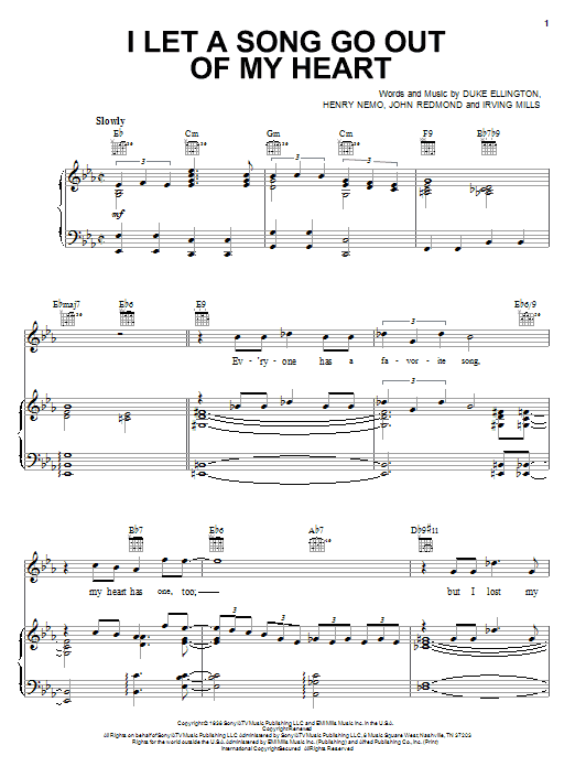 Duke Ellington I Let A Song Go Out Of My Heart sheet music notes and chords