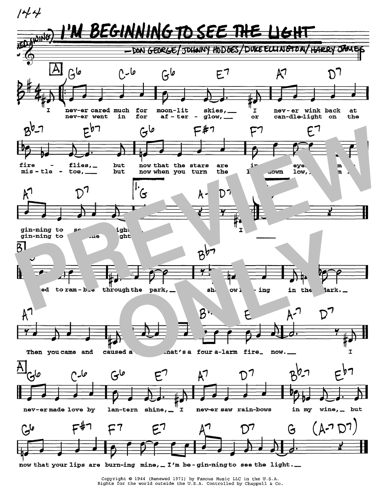Duke Ellington I'm Beginning To See The Light sheet music notes and chords