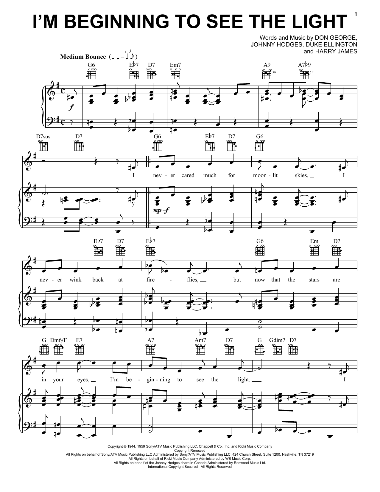 Duke Ellington I'm Beginning To See The Light sheet music preview music notes and score for Piano, Vocal & Guitar (Right-Hand Melody) including 3 page(s)