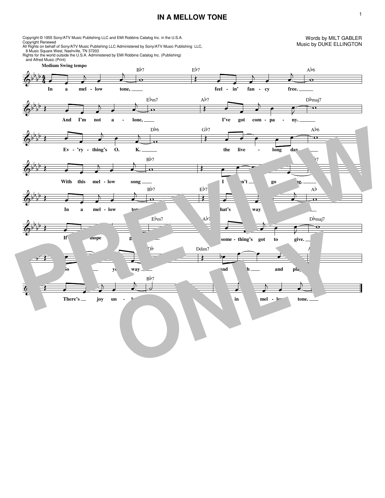 Duke Ellington In A Mellow Tone sheet music notes and chords