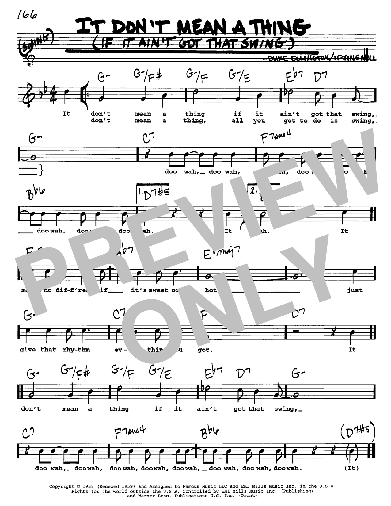 Duke Ellington It Don't Mean A Thing (If It Ain't Got That Swing) sheet music preview music notes and score for Piano, Vocal & Guitar (Right-Hand Melody) including 4 page(s)