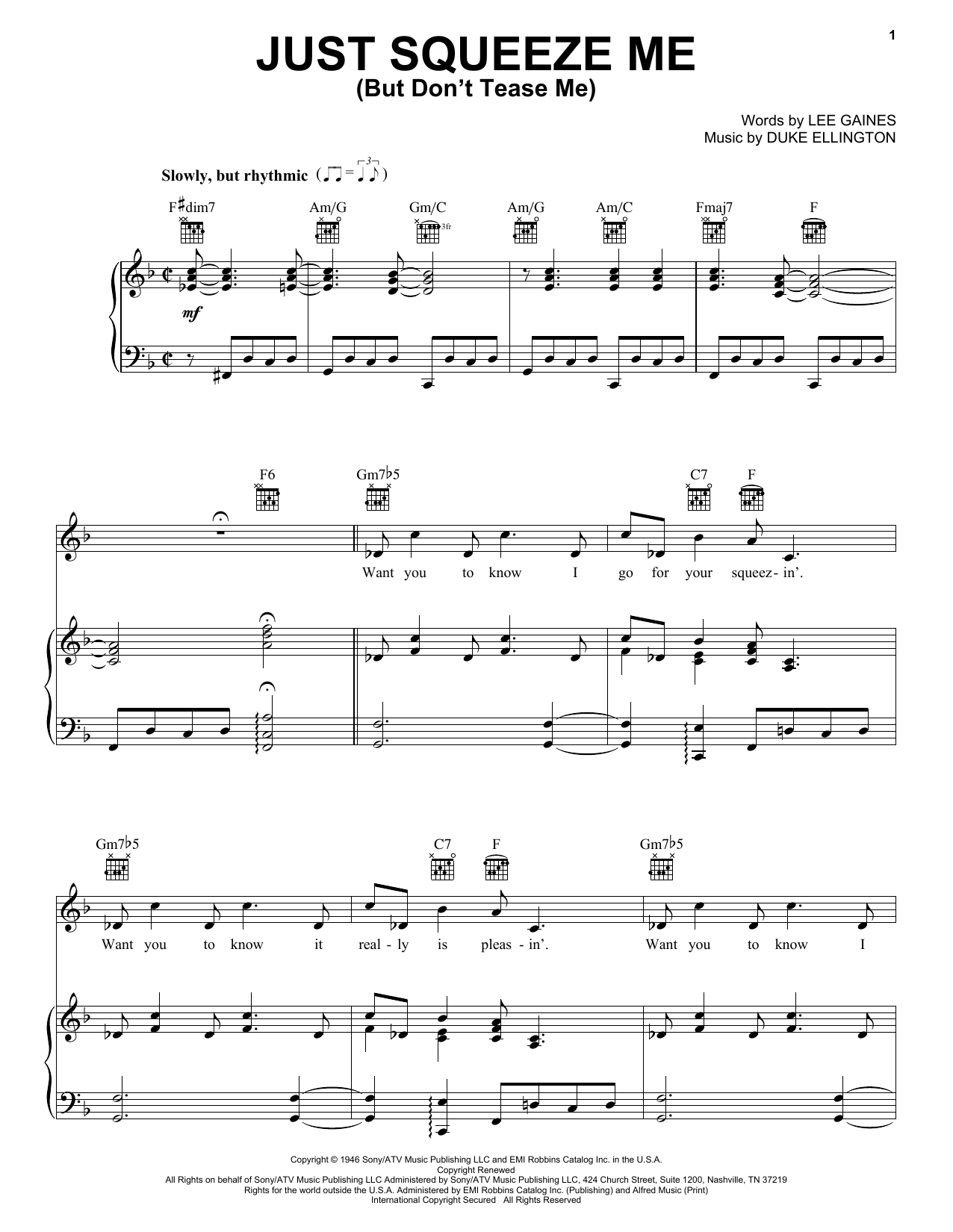Duke Ellington Just Squeeze Me (But Don't Tease Me) sheet music preview music notes and score for Piano, Vocal & Guitar (Right-Hand Melody) including 4 page(s)