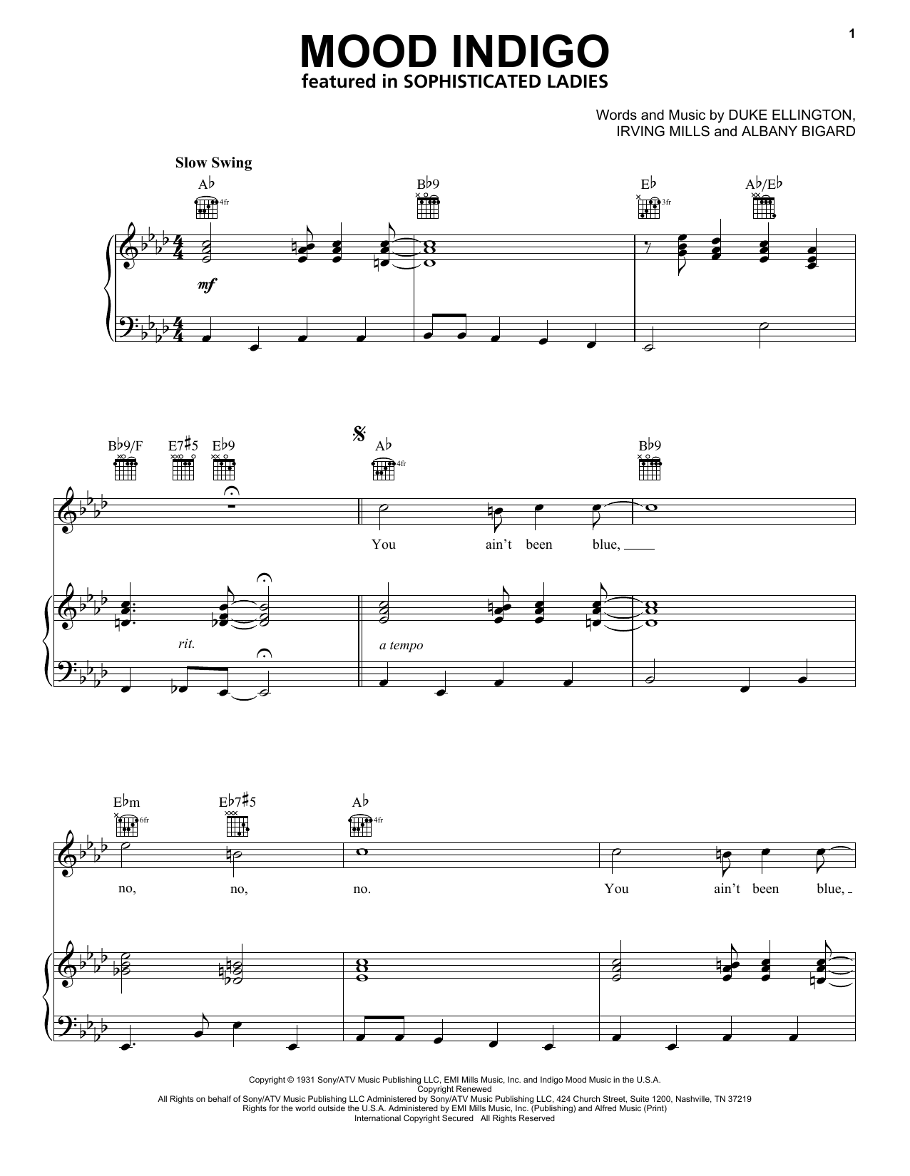 Duke Ellington Mood Indigo sheet music preview music notes and score for Guitar Tab including 3 page(s)