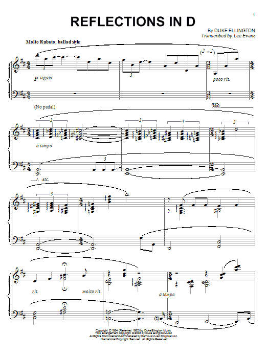 Download Duke Ellington 'Reflections In D' Digital Sheet Music Notes & Chords and start playing in minutes