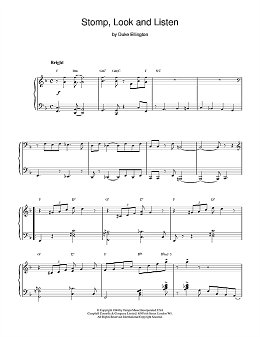 Download Duke Ellington 'Stomp, Look and Listen' Digital Sheet Music Notes & Chords and start playing in minutes