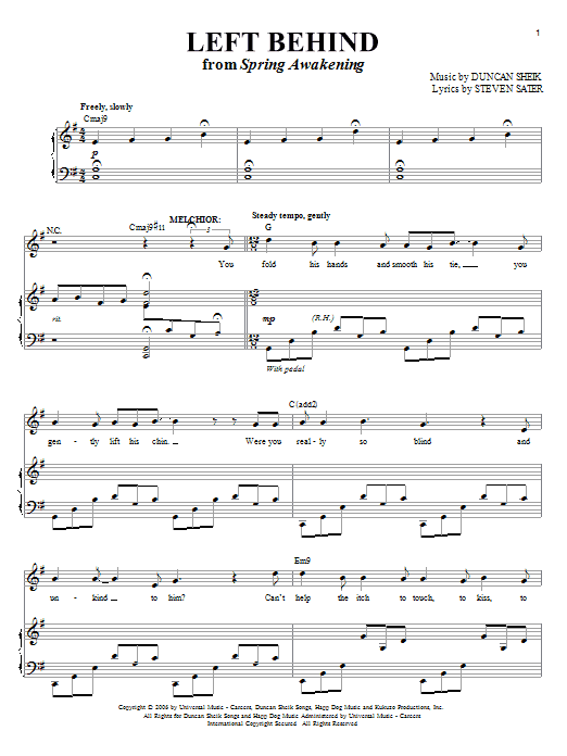 Duncan Sheik Left Behind sheet music preview music notes and score for Piano & Vocal including 9 page(s)