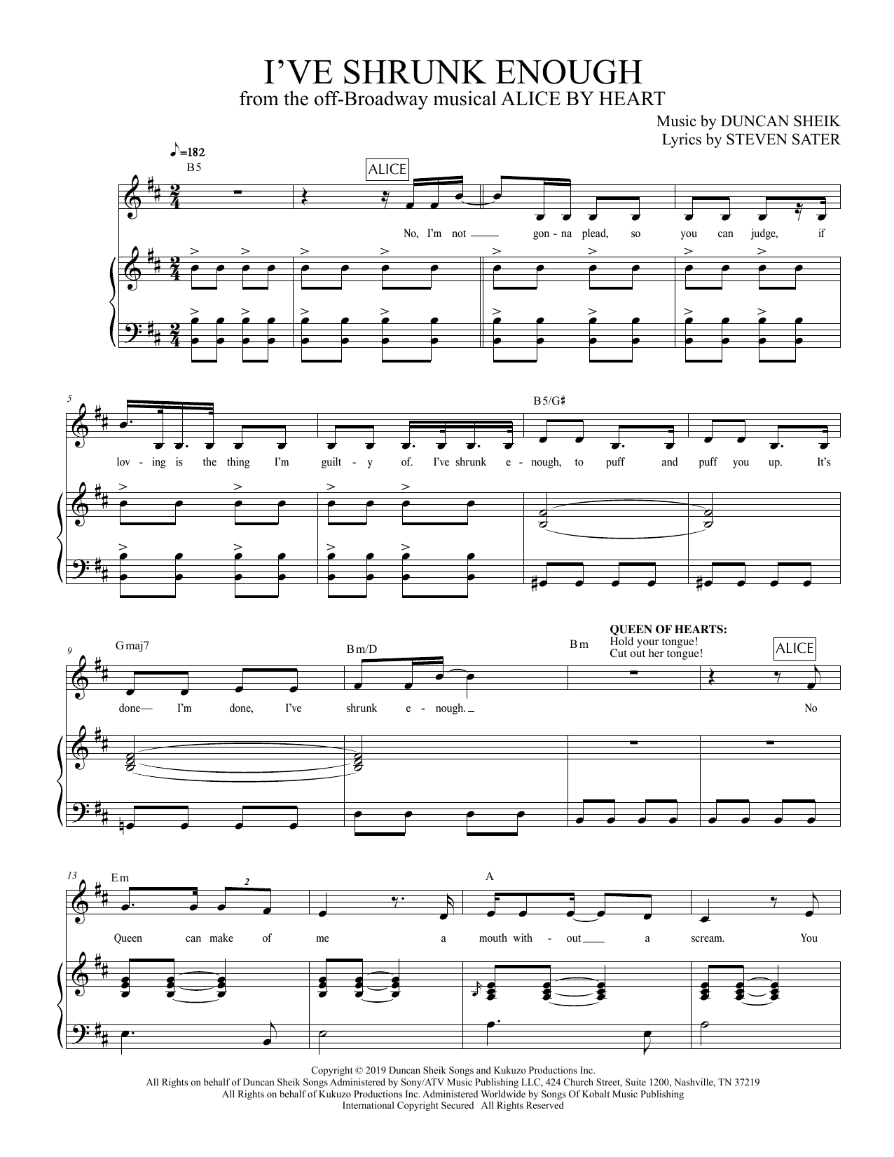 Duncan Sheik and Steven Sater I've Shrunk Enough (from Alice By Heart) sheet music preview music notes and score for Piano & Vocal including 8 page(s)