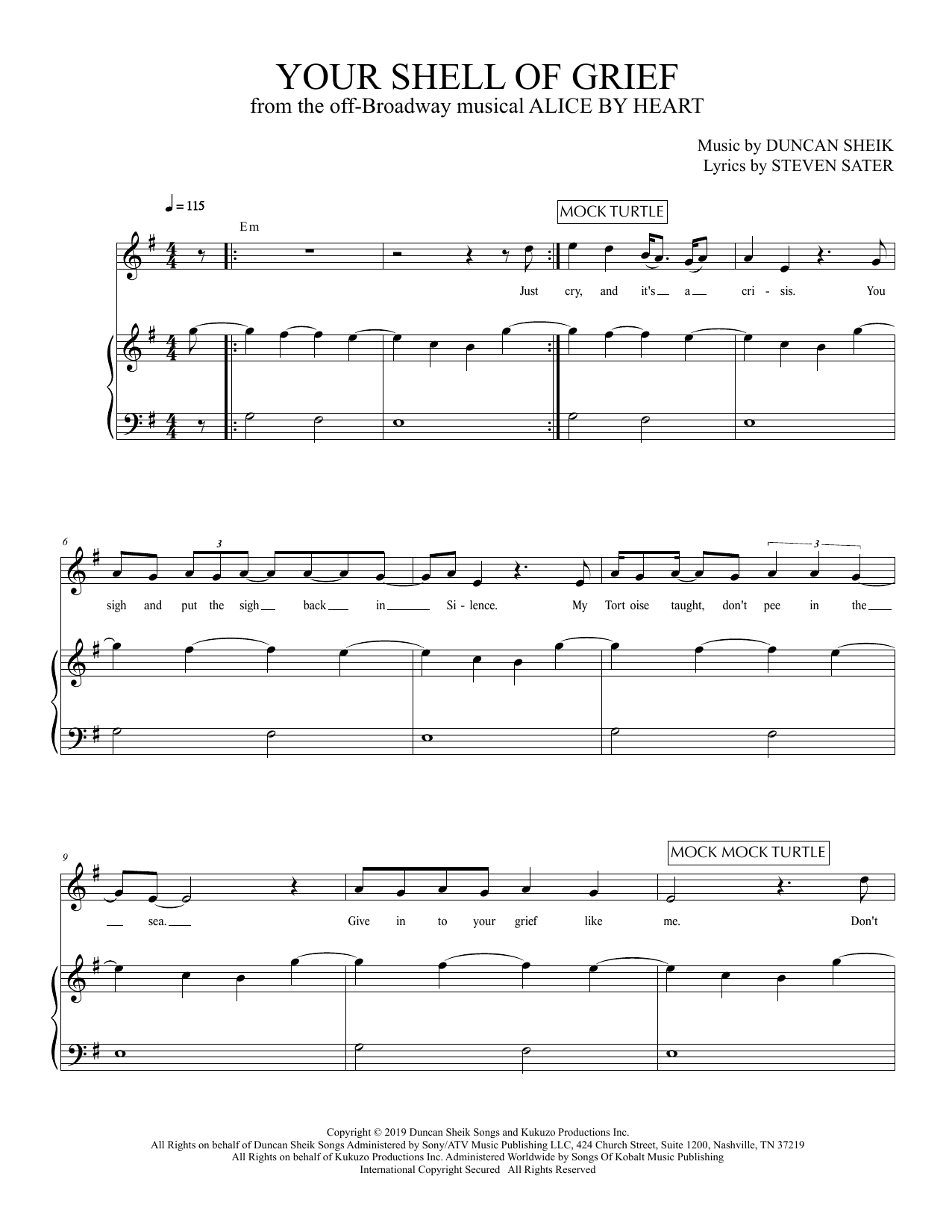 Duncan Sheik and Steven Sater Your Shell Of Grief (from Alice By Heart) sheet music preview music notes and score for Piano & Vocal including 6 page(s)
