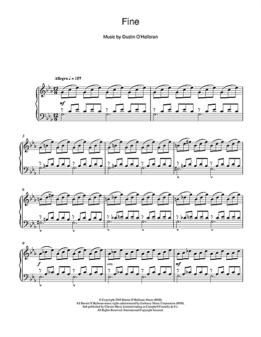 Download Dustin O'Halloran 'Fine' Digital Sheet Music Notes & Chords and start playing in minutes