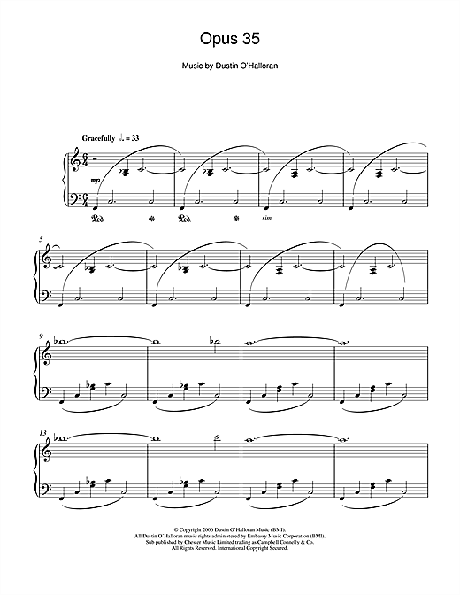 Download Dustin O'Halloran 'Opus 35' Digital Sheet Music Notes & Chords and start playing in minutes