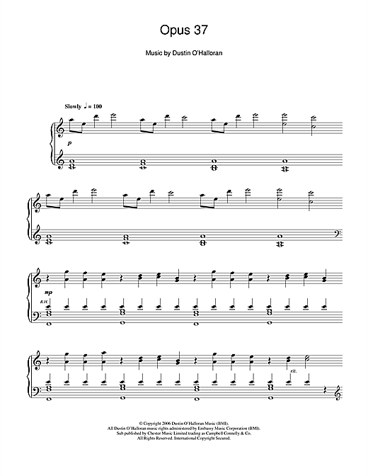 Download Dustin O'Halloran 'Opus 37' Digital Sheet Music Notes & Chords and start playing in minutes