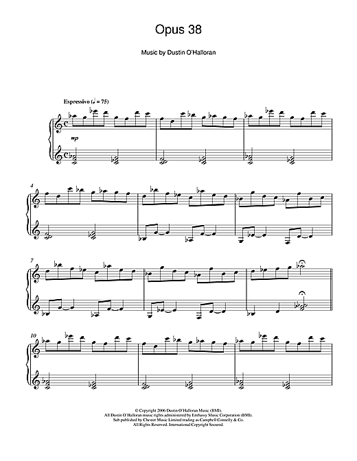 Download Dustin O'Halloran 'Opus 38' Digital Sheet Music Notes & Chords and start playing in minutes