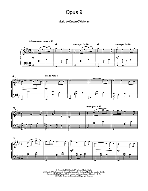 Dustin O'Halloran Opus 9 sheet music notes and chords