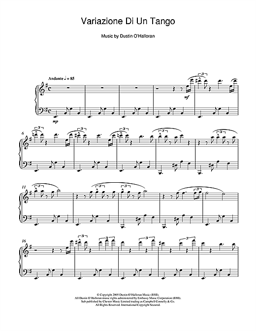 Dustin O'Halloran Variazione Di Un Tango sheet music notes and chords
