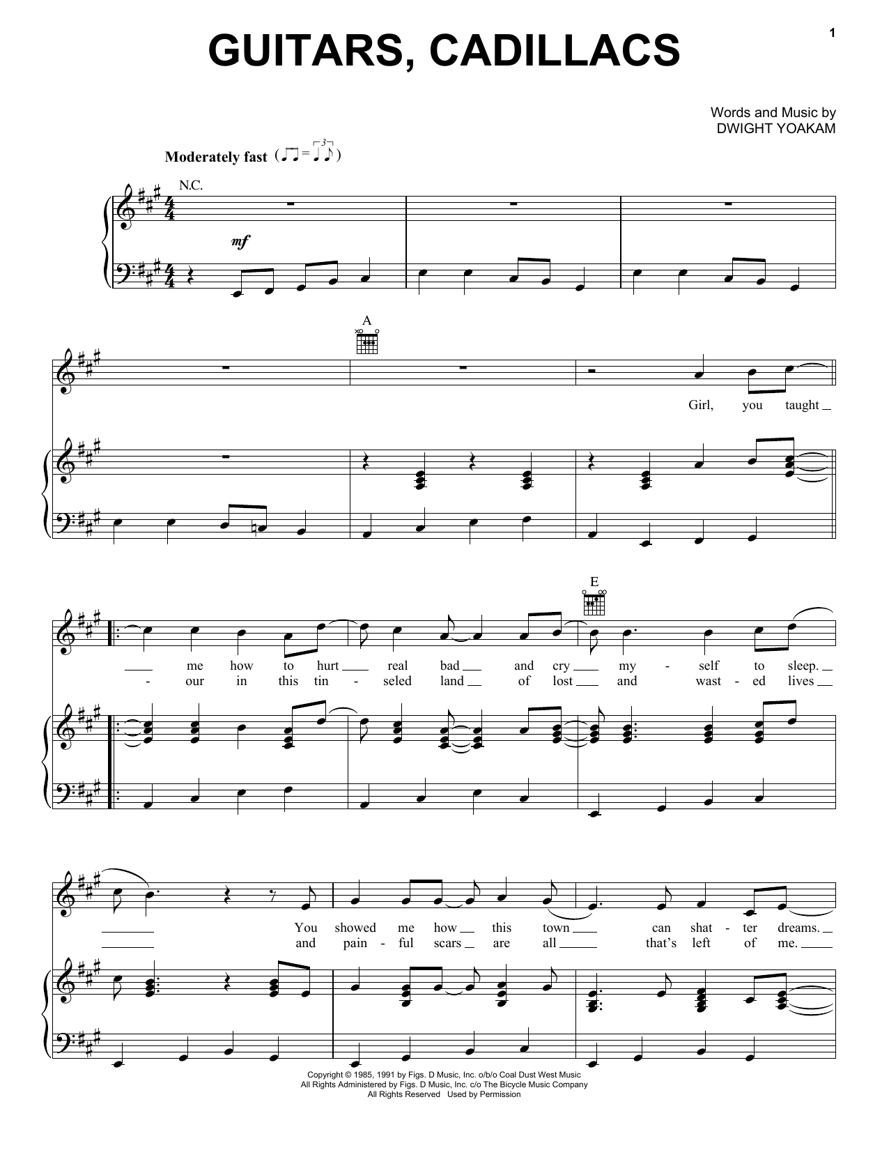 Dwight Yoakam Guitars, Cadillacs sheet music preview music notes and score for Easy Guitar including 2 page(s)
