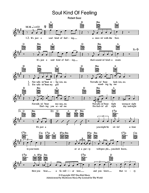 Dynamic Hepnotics Soul Kind Of Feeling sheet music preview music notes and score for Melody Line, Lyrics & Chords including 2 page(s)