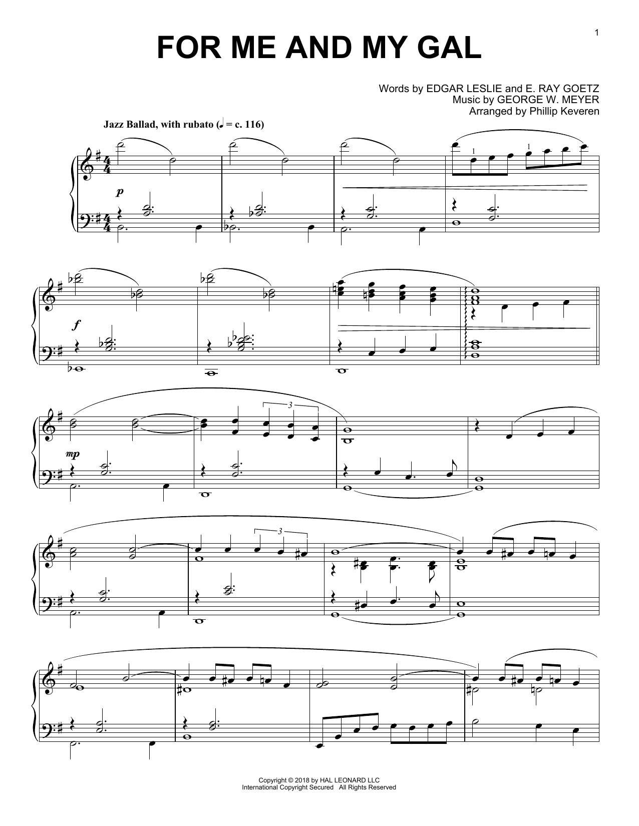 Download E. Ray Goetz 'For Me And My Gal (arr. Phillip Keveren)' Digital Sheet Music Notes & Chords and start playing in minutes