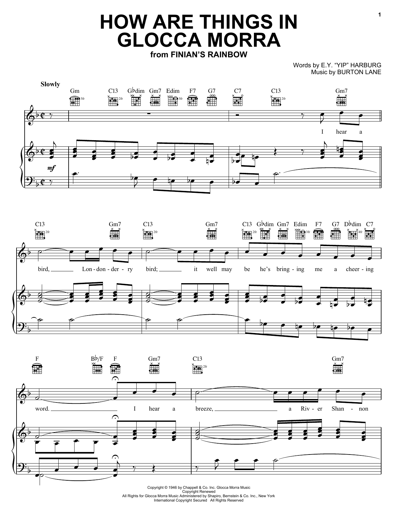 Ella Logan How Are Things In Glocca Morra sheet music preview music notes and score for Piano, Vocal & Guitar (Right-Hand Melody) including 4 page(s)