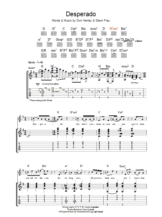 Eagles Desperado sheet music preview music notes and score for Piano, Vocal & Guitar (Right-Hand Melody) including 6 page(s)