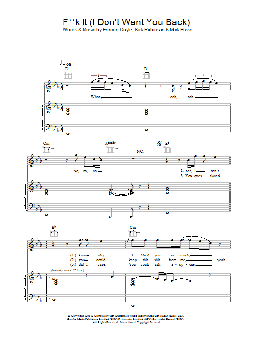 Eamon Fuck It (I Don't Want You Back) sheet music preview music notes and score for Piano, Vocal & Guitar including 4 page(s)
