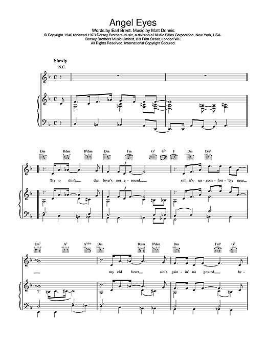 Download Earl Brent & Matt Dennis 'Angel Eyes' Digital Sheet Music Notes & Chords and start playing in minutes