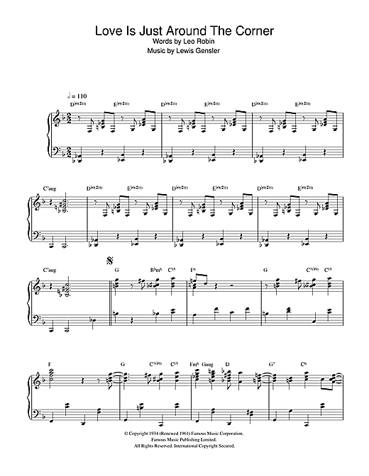 Earl Hines Love Is Just Around The Corner sheet music preview music notes and score for Piano including 9 page(s)