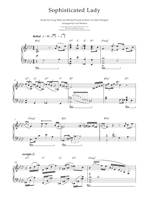 Download Earl Hines 'Sophisticated Lady' Digital Sheet Music Notes & Chords and start playing in minutes