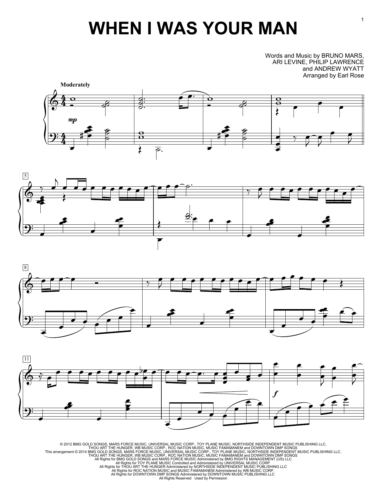 Download Bruno Mars 'When I Was Your Man' Digital Sheet Music Notes & Chords and start playing in minutes