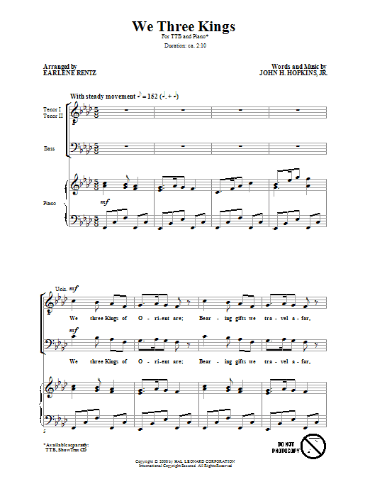 Download Earlene Rentz 'We Three Kings' Digital Sheet Music Notes & Chords and start playing in minutes