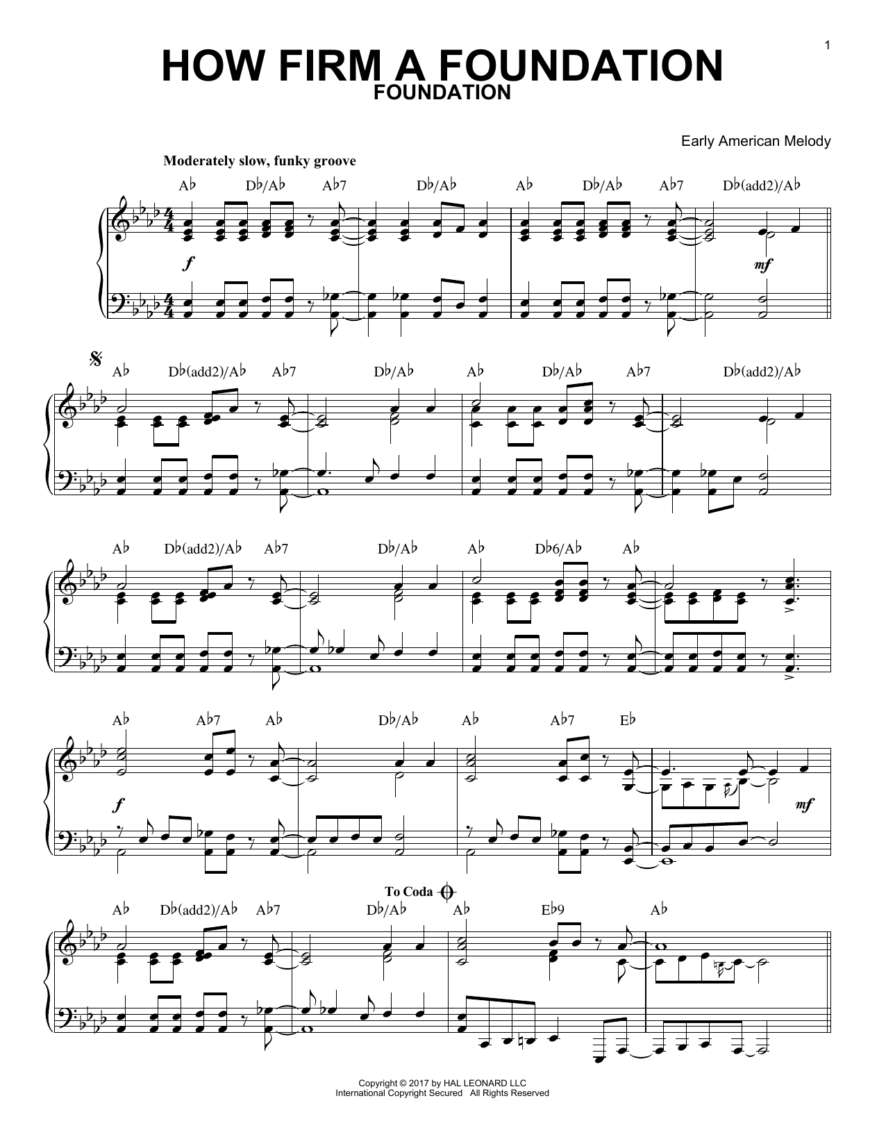 Download Early American Melody 'How Firm a Foundation' Digital Sheet Music Notes & Chords and start playing in minutes