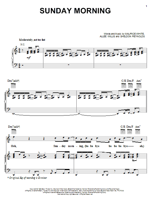 Earth, Wind & Fire Sunday Morning sheet music notes and chords