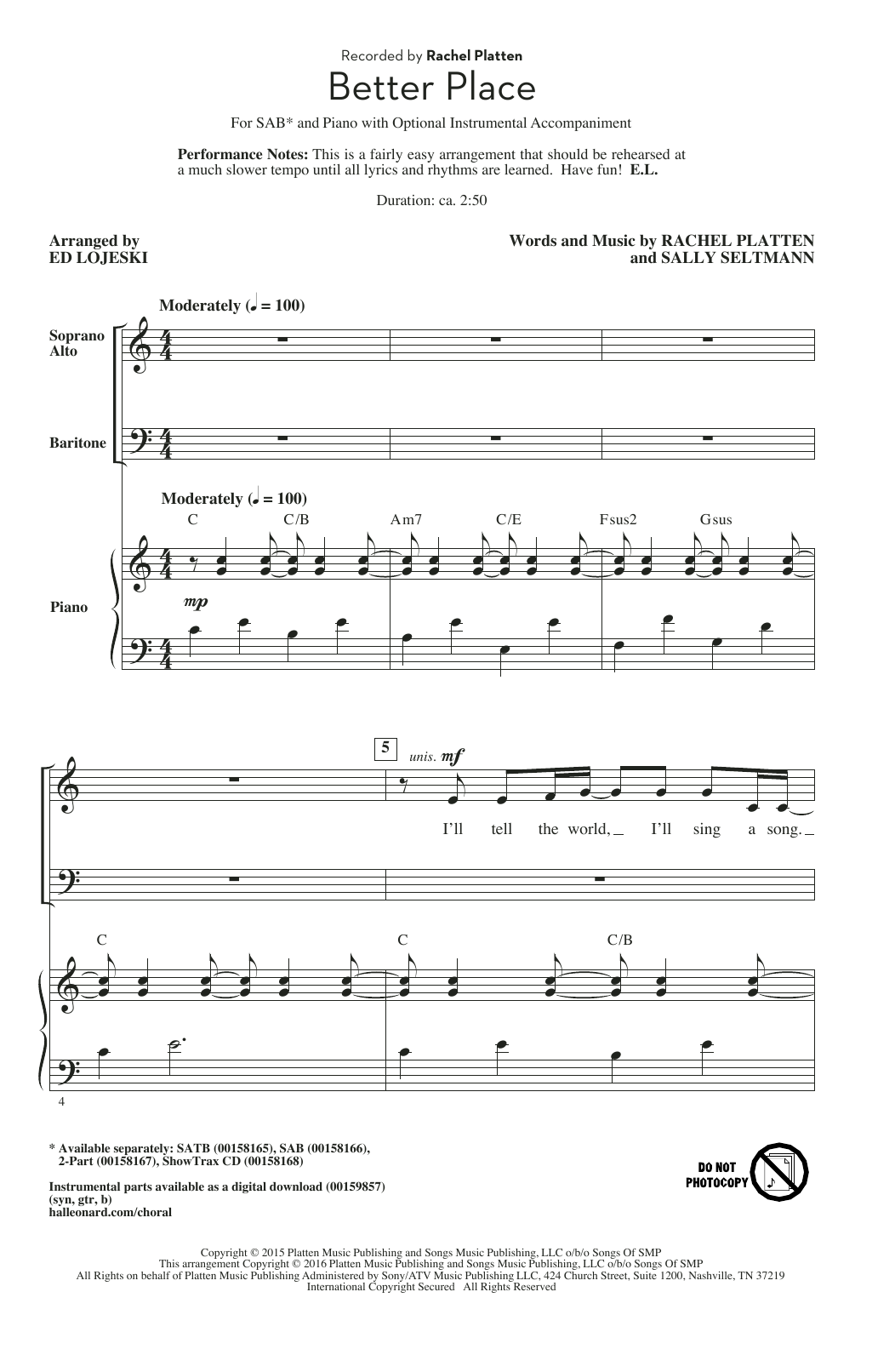 Download Ed Lojeski 'Better Place' Digital Sheet Music Notes & Chords and start playing in minutes