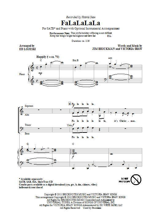 Victoria Shaw FaLaLaLaLa (arr. Ed Lojeski) sheet music preview music notes and score for SATB including 10 page(s)