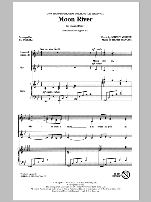 Download Henry Mancini 'Moon River (arr. Ed Lojeski)' Digital Sheet Music Notes & Chords and start playing in minutes