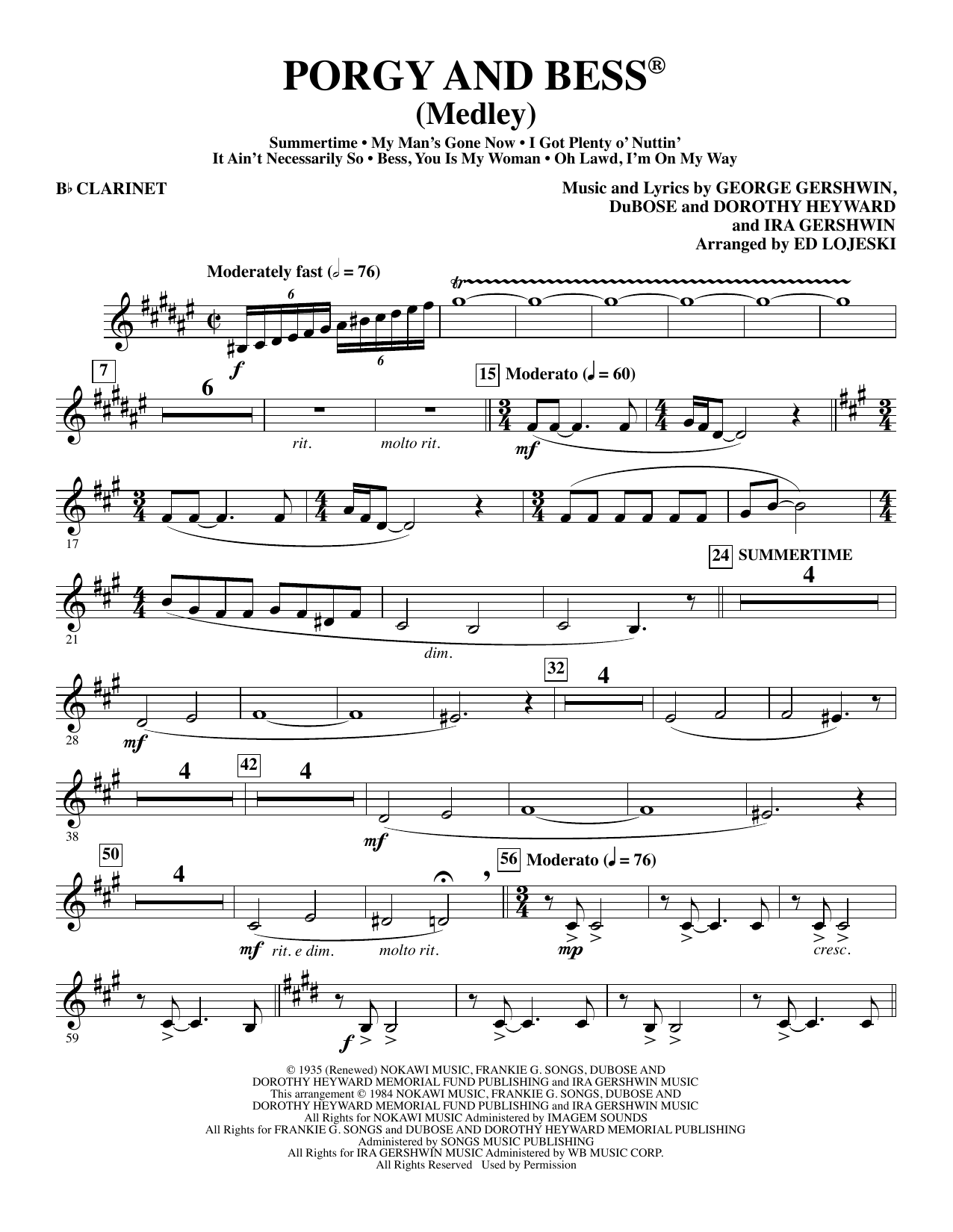 Ed Lojeski Porgy and Bess (Medley) - Bb Clarinet sheet music preview music notes and score for Choir Instrumental Pak including 5 page(s)