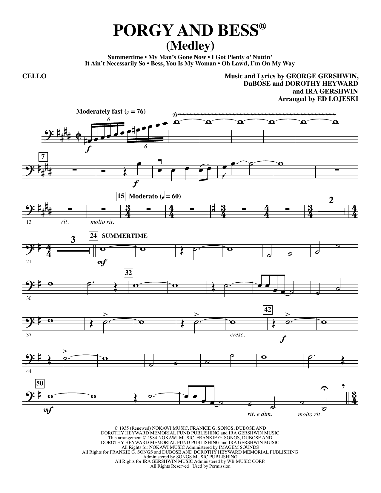 Ed Lojeski Porgy and Bess (Medley) - Cello sheet music preview music notes and score for Choir Instrumental Pak including 6 page(s)