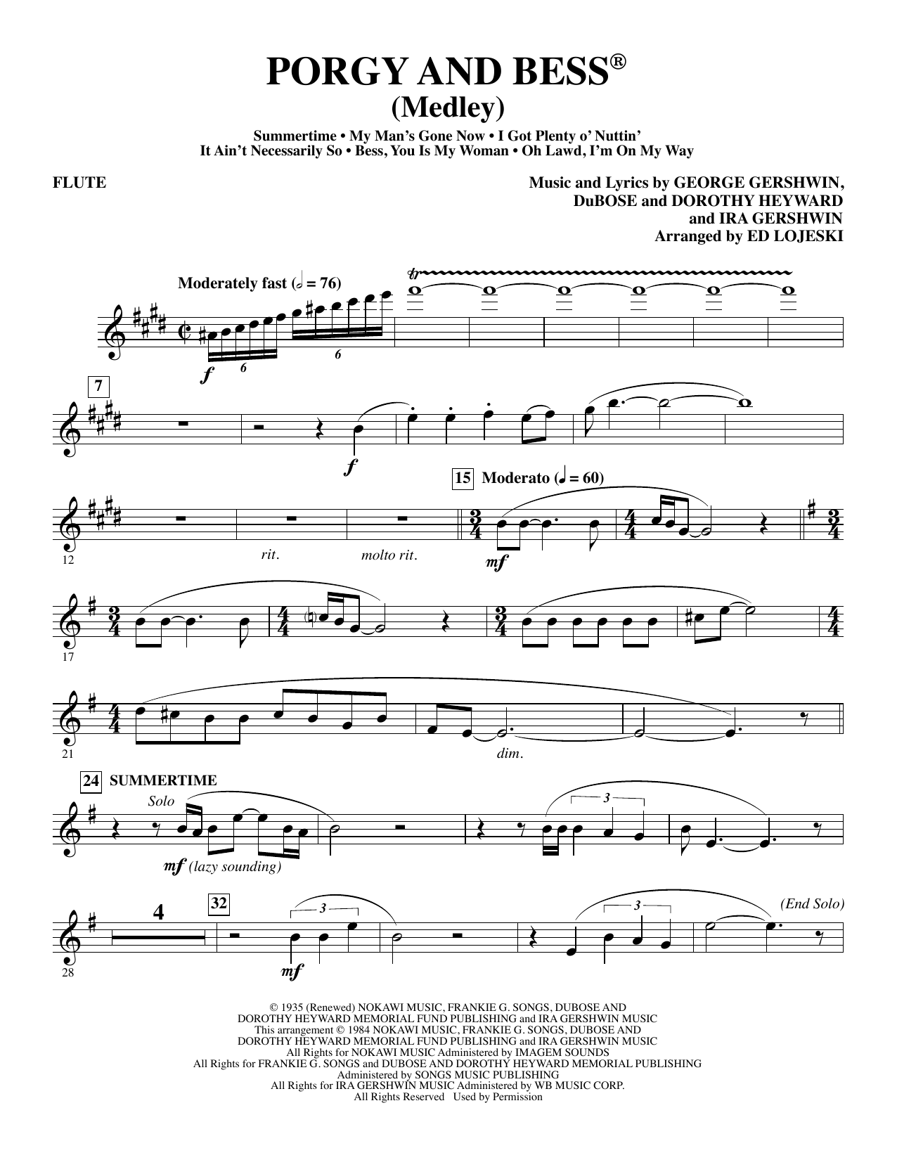 Ed Lojeski Porgy and Bess (Medley) - Flute sheet music preview music notes and score for Choir Instrumental Pak including 5 page(s)