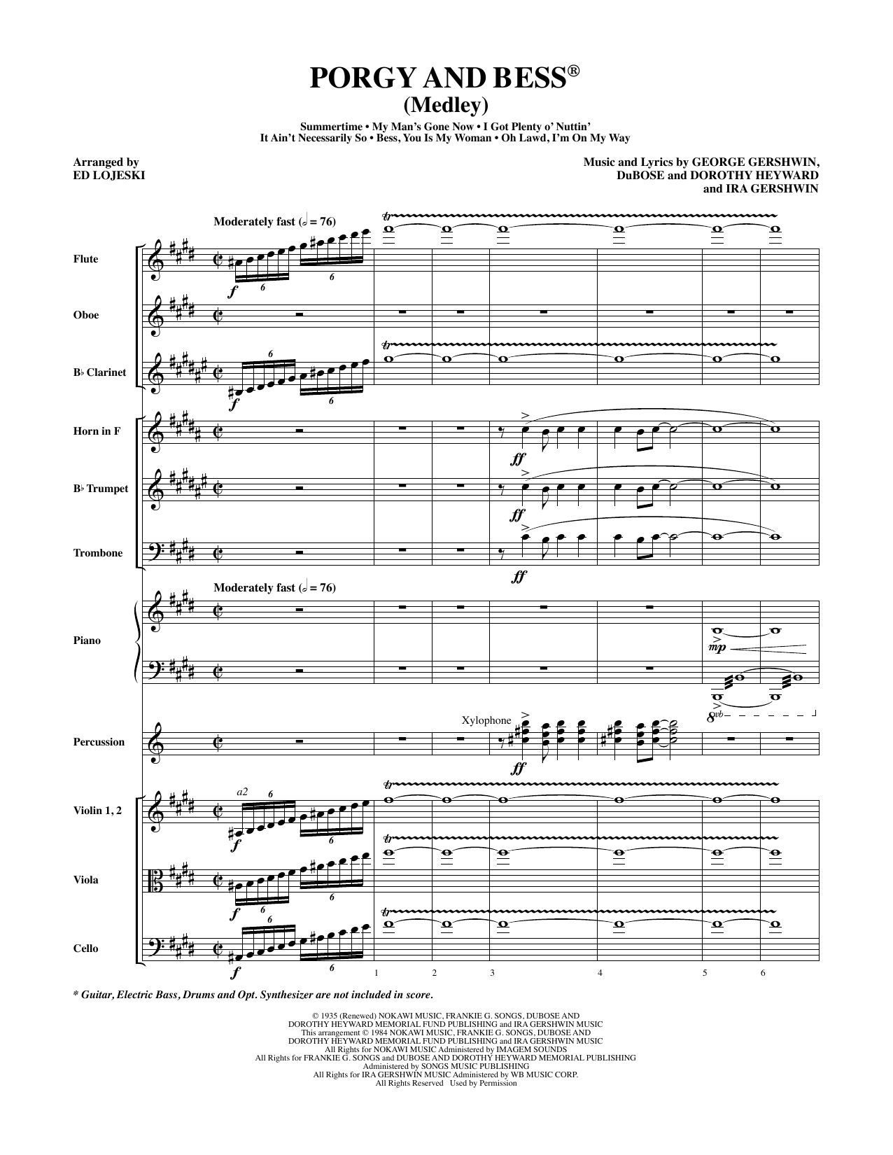 Ed Lojeski Porgy and Bess (Medley) - Full Score sheet music preview music notes and score for Choir Instrumental Pak including 71 page(s)