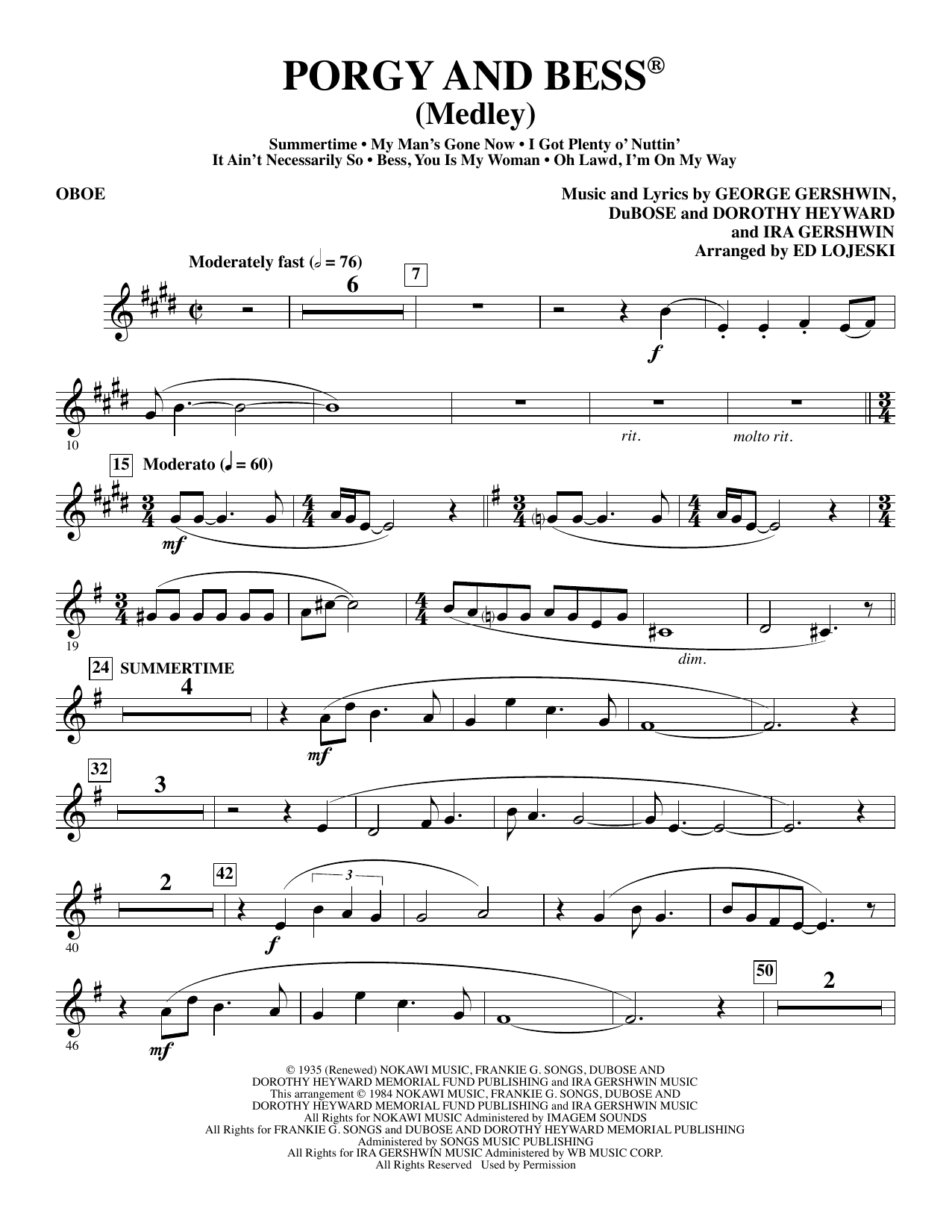 Ed Lojeski Porgy and Bess (Medley) - Oboe sheet music preview music notes and score for Choir Instrumental Pak including 5 page(s)