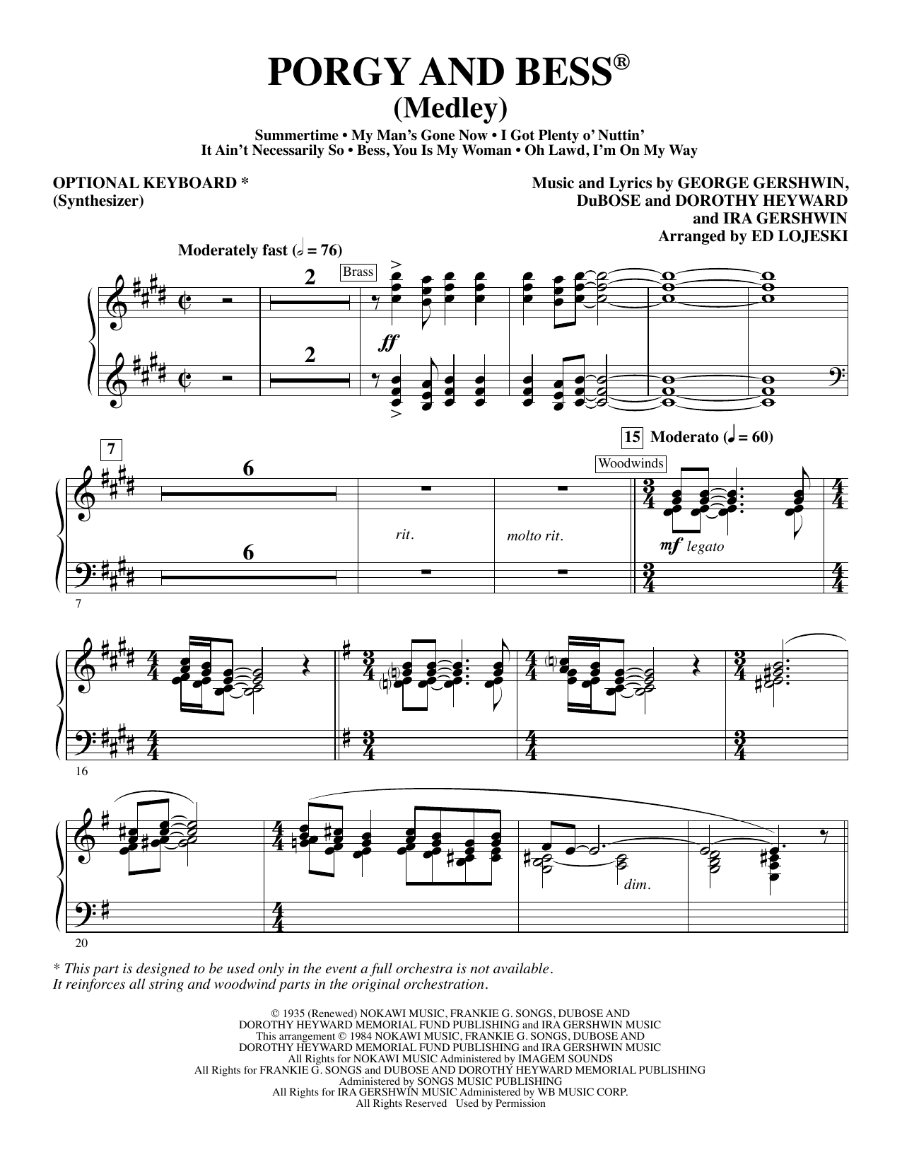 Ed Lojeski Porgy and Bess (Medley) - Synthesizer (opt.) sheet music preview music notes and score for Choir Instrumental Pak including 9 page(s)