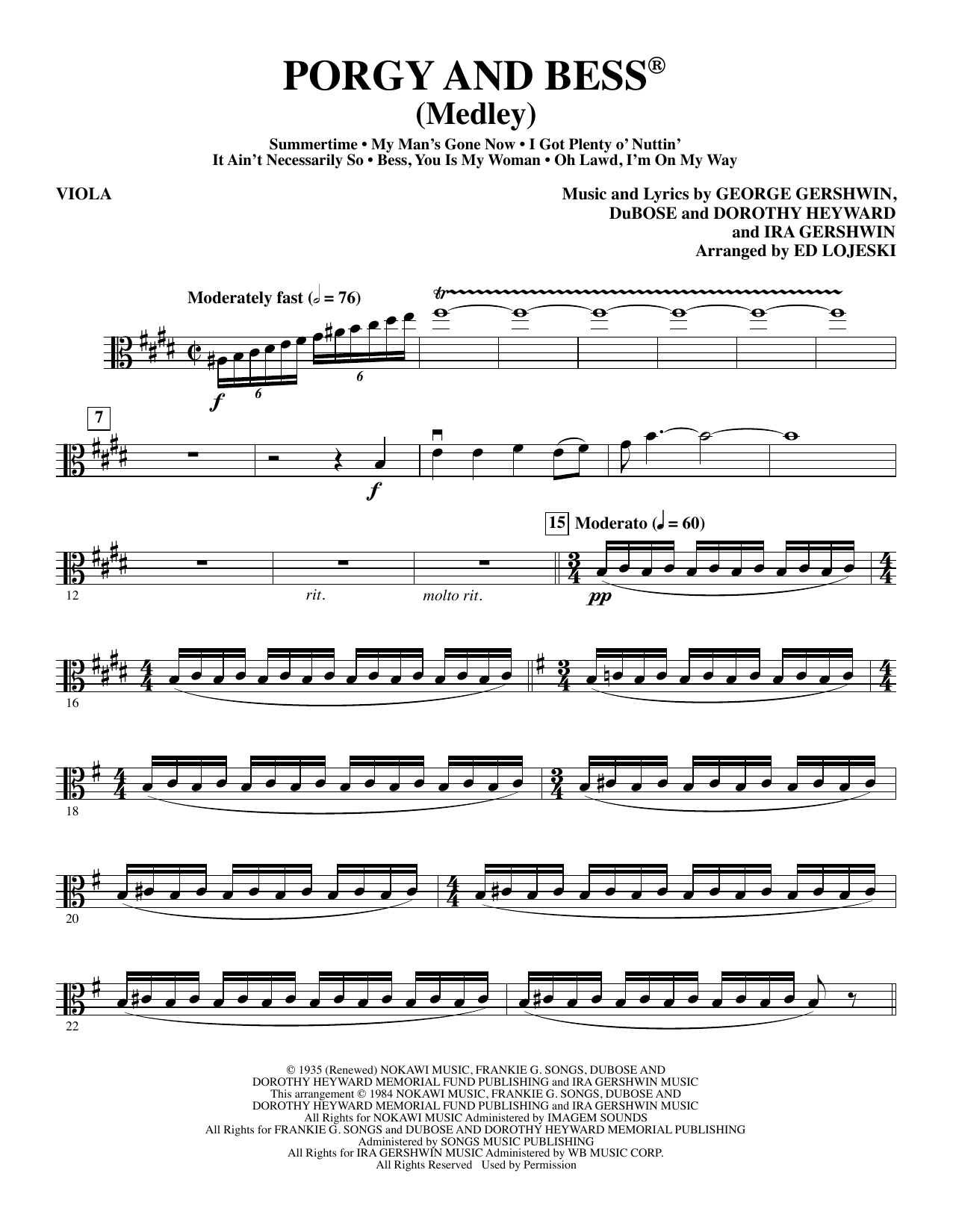 Ed Lojeski Porgy and Bess (Medley) - Viola sheet music preview music notes and score for Choir Instrumental Pak including 6 page(s)