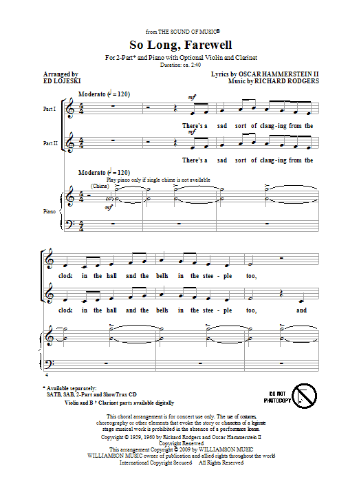 Download Rodgers & Hammerstein 'So Long, Farewell (from The Sound Of Music) (arr. Ed Lojeski)' Digital Sheet Music Notes & Chords and start playing in minutes