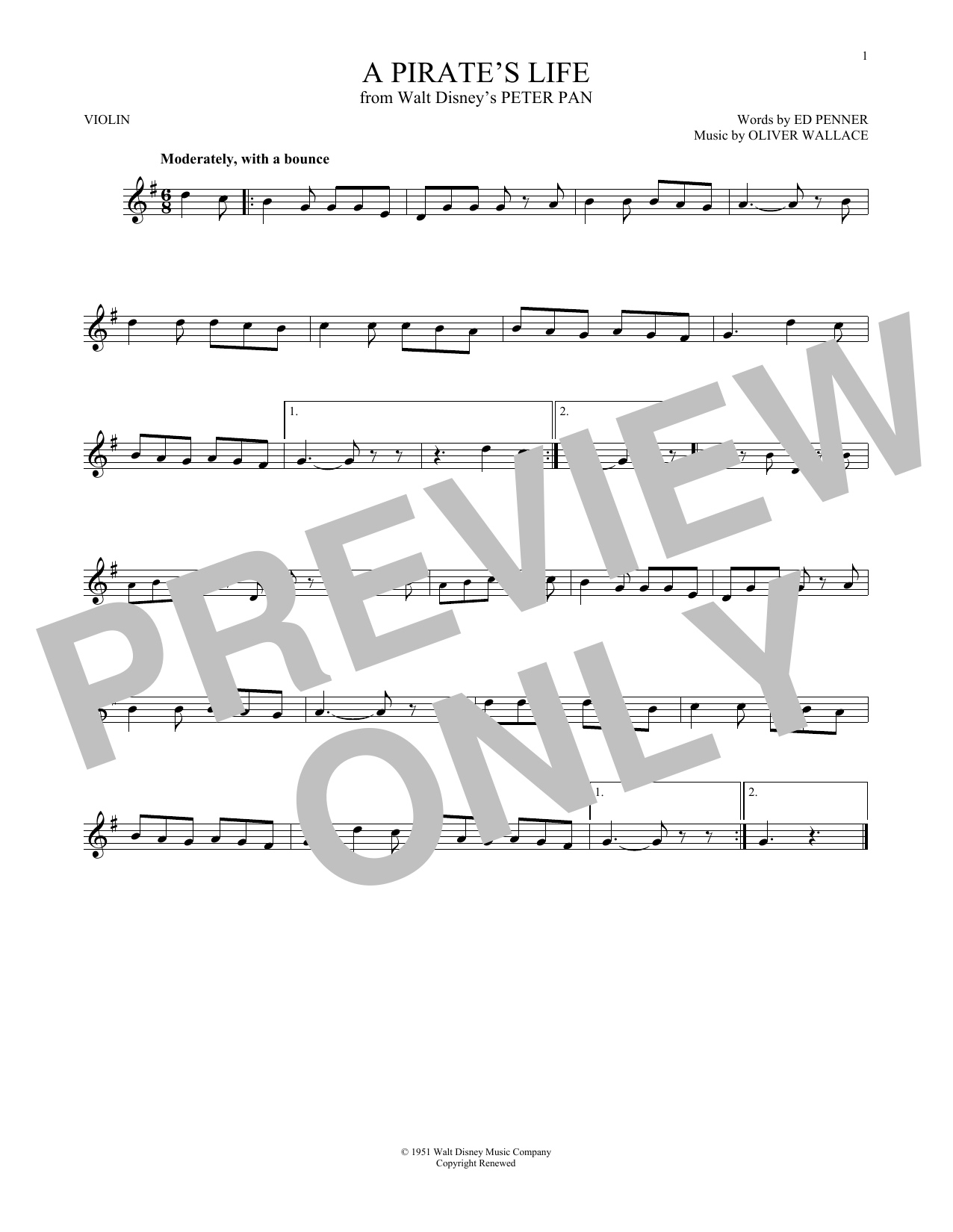 Ed Penner A Pirate's Life sheet music preview music notes and score for E-Z Play Today including 3 page(s)
