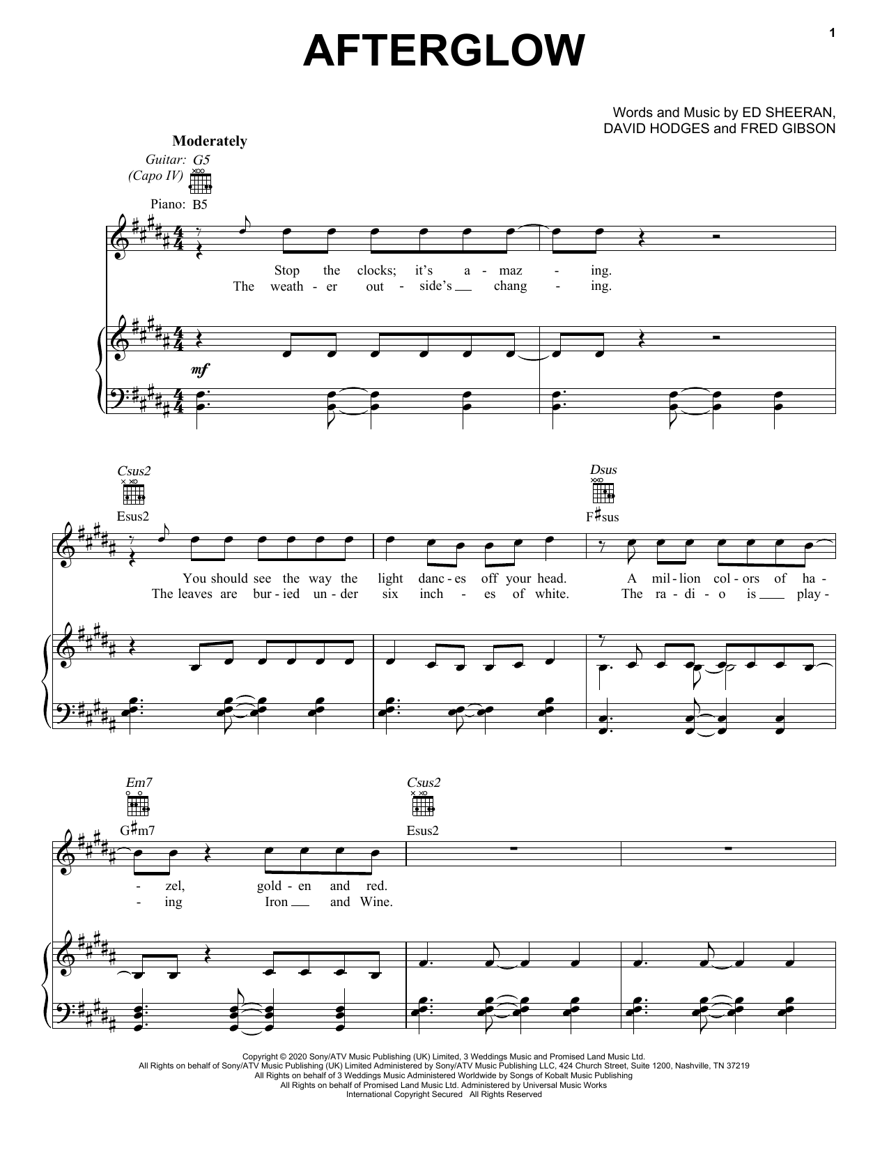 Ed Sheeran Afterglow sheet music preview music notes and score for Piano, Vocal & Guitar (Right-Hand Melody) including 4 page(s)