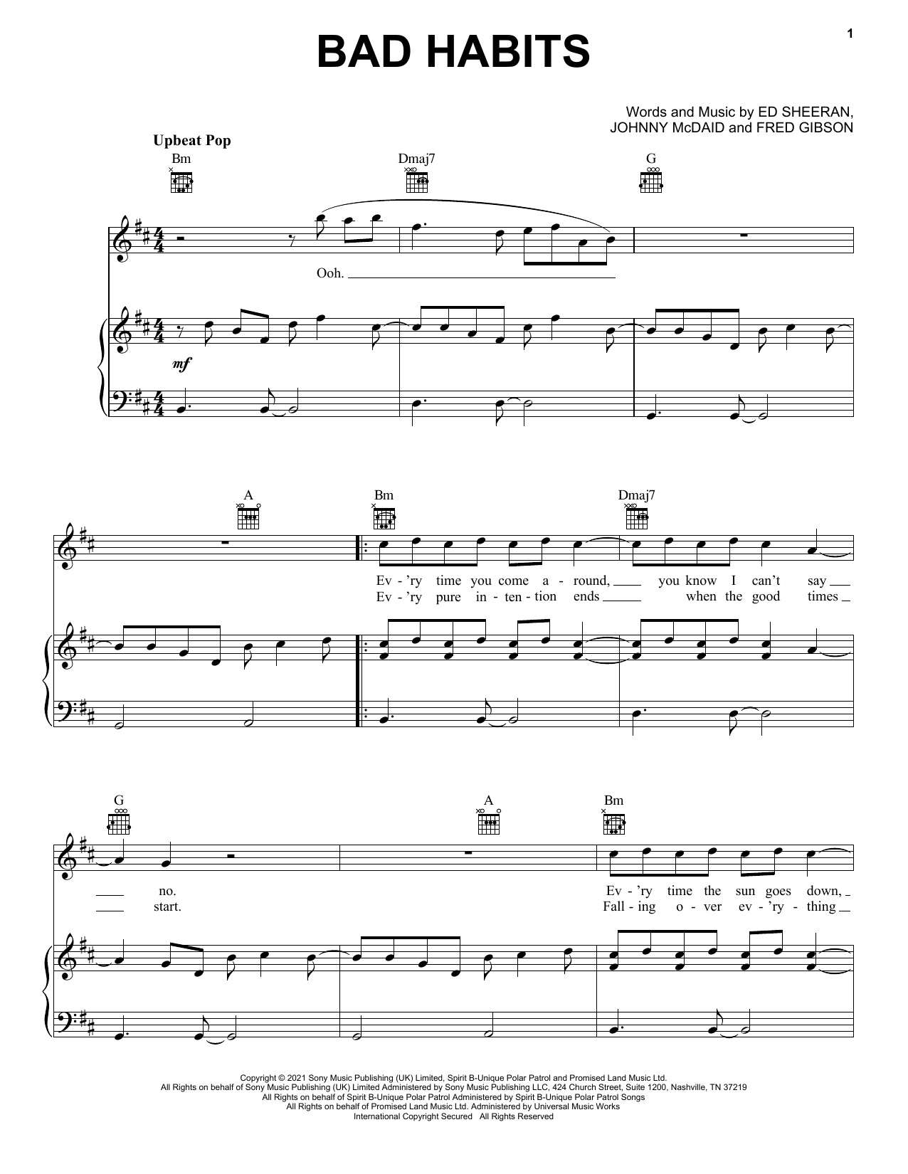 Ed Sheeran Bad Habits sheet music preview music notes and score for Piano, Vocal & Guitar (Right-Hand Melody) including 6 page(s)