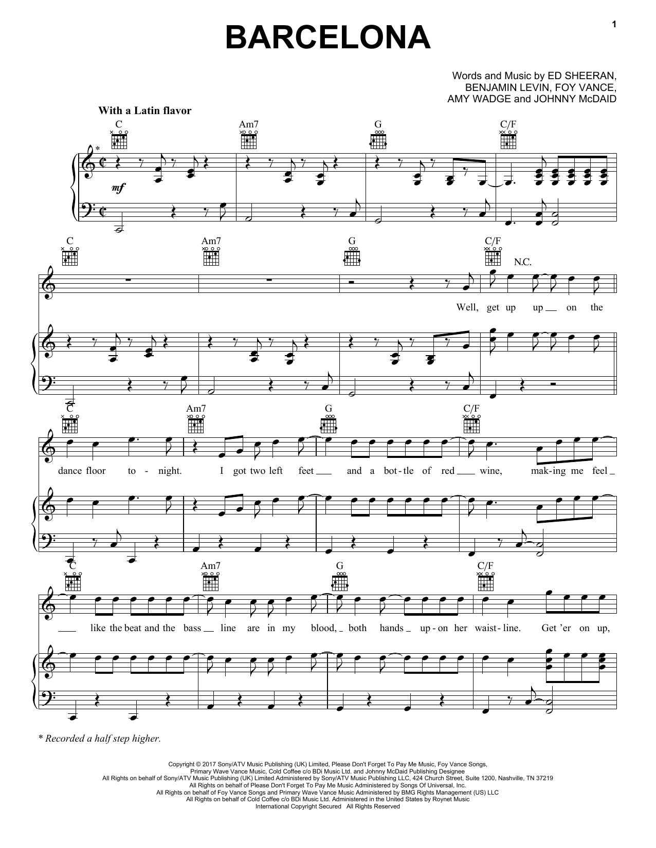 Download Ed Sheeran 'Barcelona' Digital Sheet Music Notes & Chords and start playing in minutes