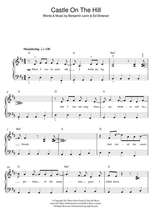 Download Ed Sheeran 'Castle On The Hill' Digital Sheet Music Notes & Chords and start playing in minutes