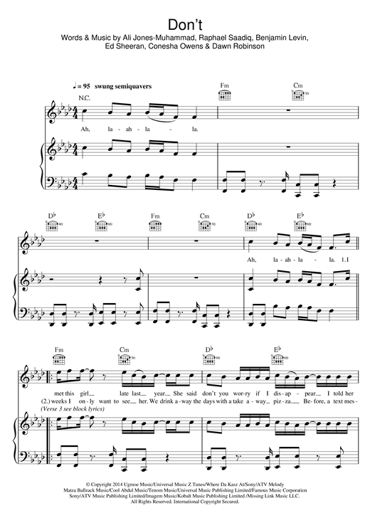 Ed Sheeran Don't sheet music preview music notes and score for E-Z Play Today including 6 page(s)
