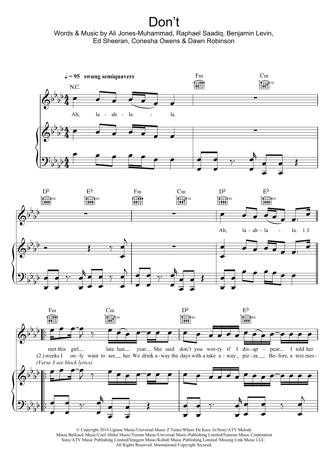 Ed Sheeran Don't sheet music preview music notes and score for Super Easy Piano including 2 page(s)